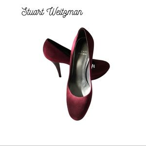 STUART WEITZMAN BURGUNDY SUEDE & LEATHER PUMPS